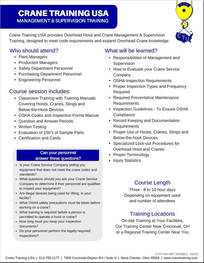 Management & Supervision Training (#710) - CraneTraining com