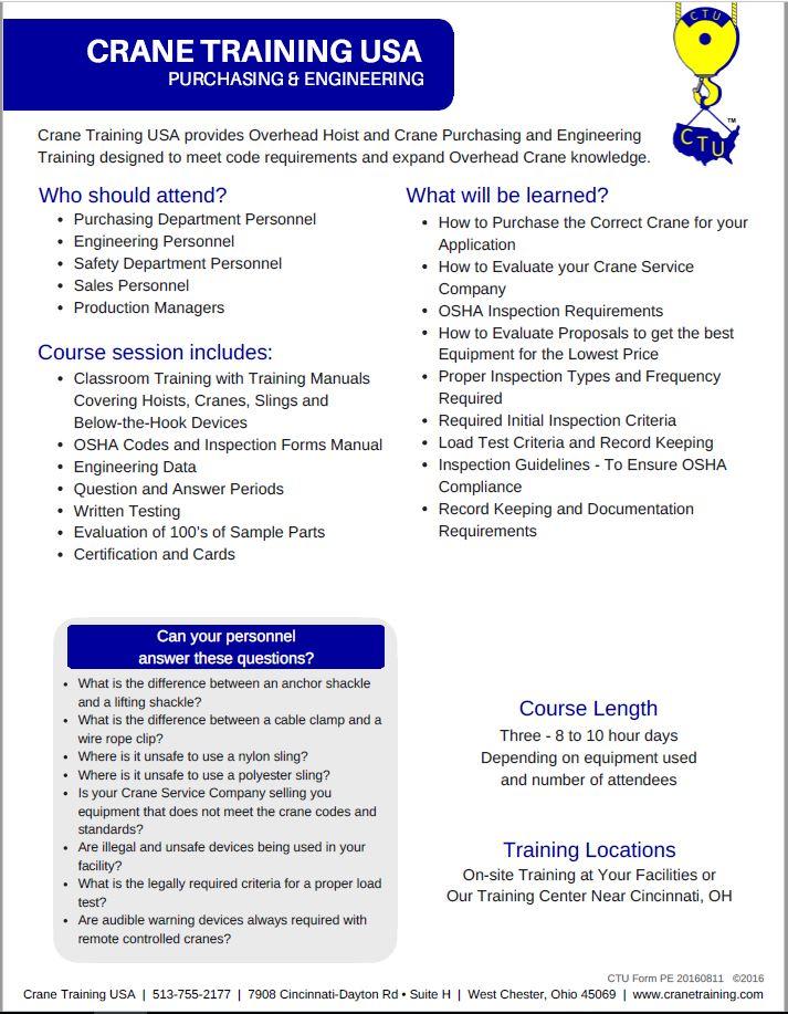 Purchasing & Engineering Training (#730) - CraneTraining com